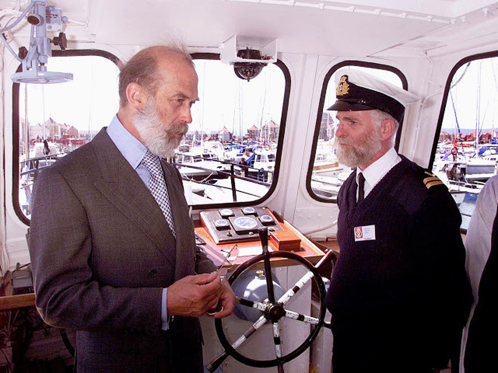 SOVEREIGN HARBOUR PRINCE MICHEAL OF KENT RECOMMISIONED EAST SUSSEX 1 IN PIC WITH PRINCE IS TOM BLOORE ENGINEER OFFICER ON THE BRIDGE
